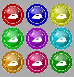 Iron icon sign symbol on nine round colourful vector