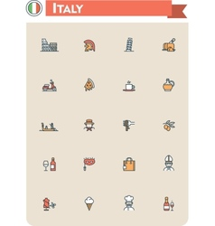 Italy travel icon set vector image