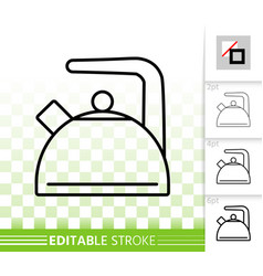 Kettle simple kitchen ware black line icon vector