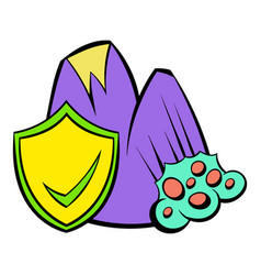 Landslide and yellow shield with tick icon cartoon vector
