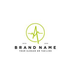 Letter a pulse logo design vector