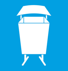 Litter waste bin icon white vector
