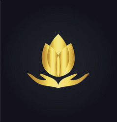 Lotus flower meditation spa gold logo vector