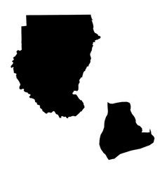Map sudan and khartoum country and capital vector