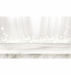 Marble stage or table with white silk background vector