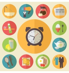 Morning time morning occupation icons set Flat vector image