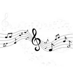 Music notes wave curve lines with musical signs vector