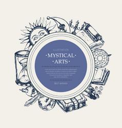 Mystical arts - modern drawn round banner vector
