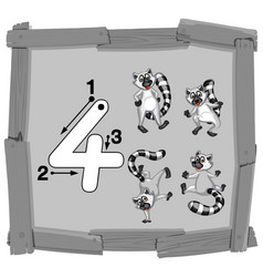 Number four on wooden banner vector