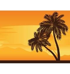 Palm Tree at Sunset vector image