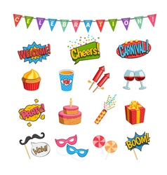 Party Comic Elements Set vector