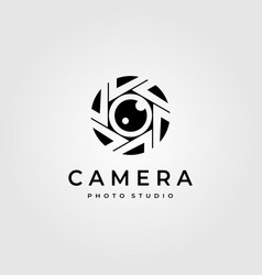 Photography camera lens logo minimalist design vector