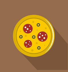 Pizza with sausage and olives icon flat style vector