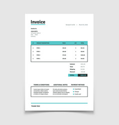 Quotation invoice template paper bill form vector