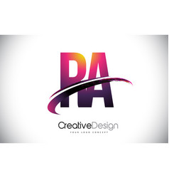 Ra r a purple letter logo with swoosh design vector