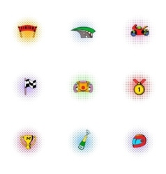 Racing and competition icons set pop-art style vector image