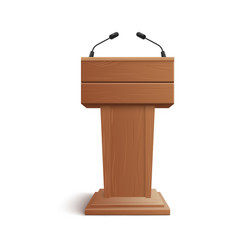 Realistic icon blank brown wooden stand podium vector