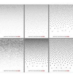 Set black gradient halftone dots backgrounds vector