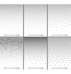 Set of Black Gradient Halftone Dots Backgrounds vector image