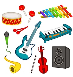 set of isolated musical instruments vector image