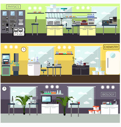 set of posters with scientific research vector image