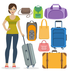 set of travel bags and girl vector image