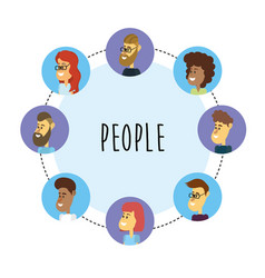 Set people face with hairstyle design vector