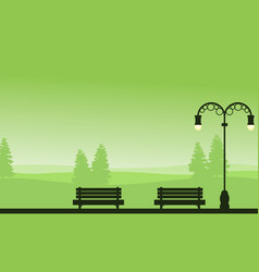 Silhouette of chair on garden with tree background vector