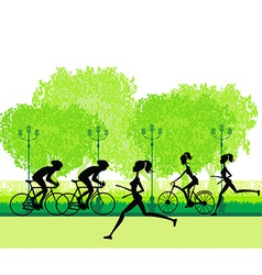 Silhouette of marathon runner and cyclist race vector