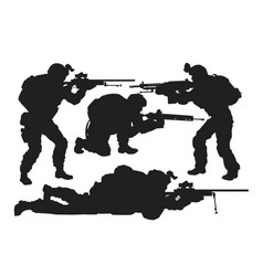 Silhouettes soldiers set vector