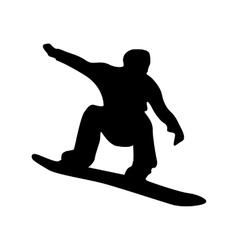 Snowboarder black silhouette vector