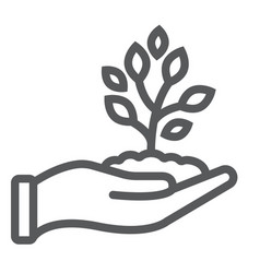 sprout in hand line icon farming and agriculture vector image