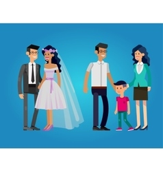 Stages life young couple vector