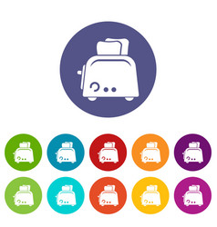toaster icons set color vector image