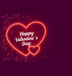 Two neon hearts happy valentines day design vector