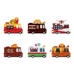 Van with food meals on wheels fast food Flat vector image
