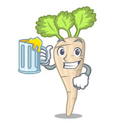 With juice fresh parsnip roots on a mascot vector
