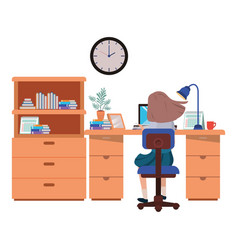 Woman working in office avatar character vector
