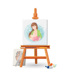 wooden easel with picture of woman breastfeeding vector image