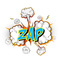 word zap on comic cloud explosion background vector image