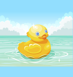 yellow duck floating on water surface vector image