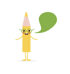 yellow pencil character with speech bubble vector image