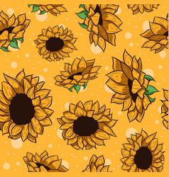 yellow sunflowers seamless pattern vector image