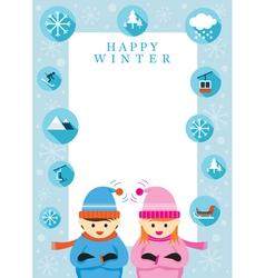 Boy and Girl in Winter Season Frame vector image vector image