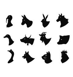 Farm animals icons set vector