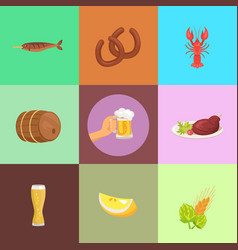 set of food and beer types vector image