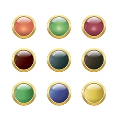 Set of glossy round buttons vector image