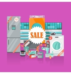 Supermarket Sale Household Appliances Flat Style vector image