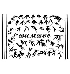 Bamboo branches and leaves silhouettes vector