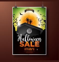 hallowen sale with coffin zombie hand bats monn vector image vector image